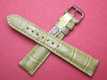 Louisiana Krokodil-Leder-Armband 20mm im Verlauf auf 16mm Farbe: Schilfgrün