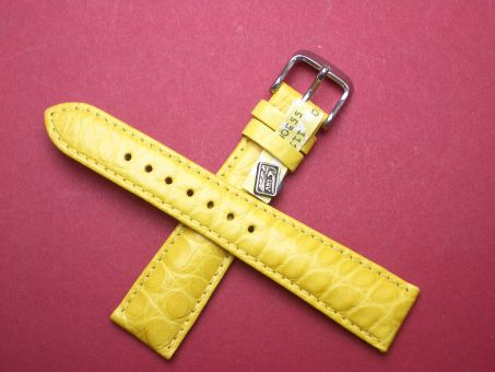 Louisiana Krokodil-Leder-Armband 20mm im Verlauf auf 16mm Farbe: Gelb
