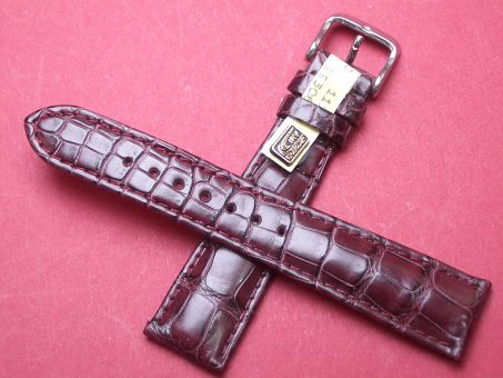 Louisiana Krokodil-Leder-Armband 20mm im Verlauf auf 16mm Farbe: Bordeauxrot