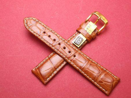 Louisiana Krokodil-Leder-Armband 20mm im Verlauf auf 16mm Farbe: hell Braun, helle Naht