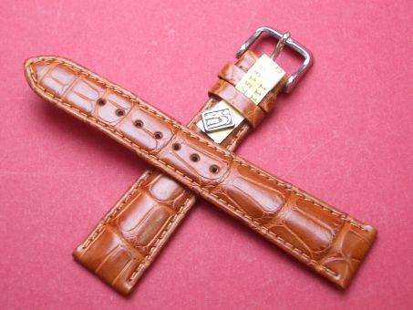 Louisiana Krokodil-Leder-Armband 20mm im Verlauf auf 16mm Farbe: hell Braun