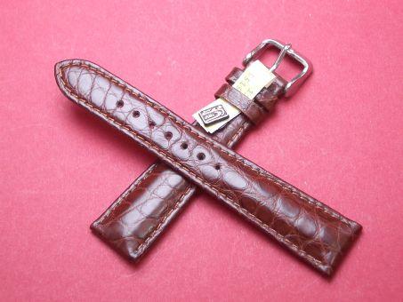 Louisiana Krokodil-Leder-Armband 20mm im Verlauf auf 16mm Farbe: Braun