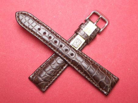 Louisiana Krokodil-Leder-Armband 20mm im Verlauf auf 16mm Farbe: dunkel Braun