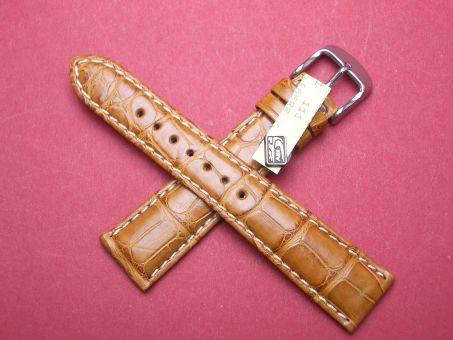 Louisiana Krokodil-Leder-Armband 20mm im Verlauf auf 16mm Farbe: Honig, helle Naht