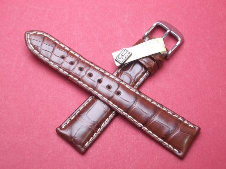 Louisiana Krokodil-Leder-Armband 20mm im Verlauf auf 16mm Farbe: Braun, helle Naht