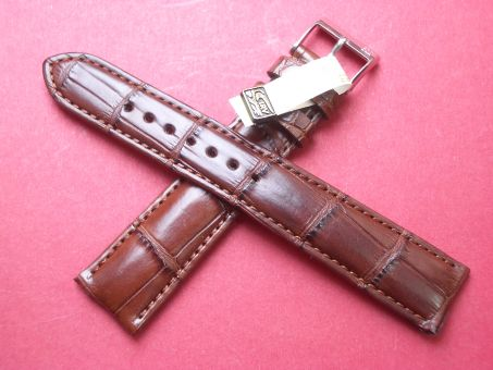 Louisiana Krokodil-Leder-Armband, Signiert: Glashütte, 19mm im Verlauf auf 16mm, Farbe: Braun