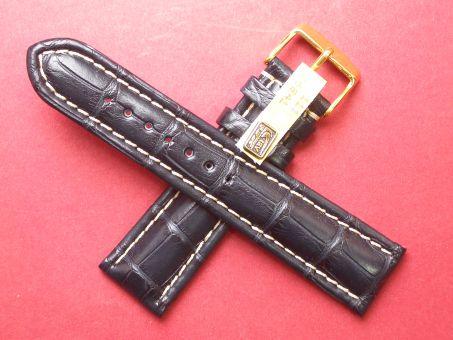 Louisiana Krokodil-Leder-Armband 22mm im Verlauf auf 20mm Farbe: Schwarz mit weißer Naht