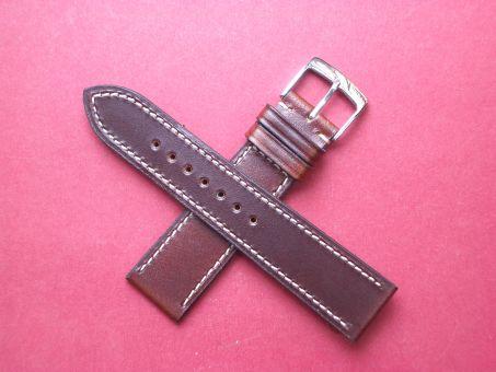 Leder-Armband Calf 20mm im Verlauf auf 18mm, Signiert: Glashütte, Farbe: Braun mit weißer Naht