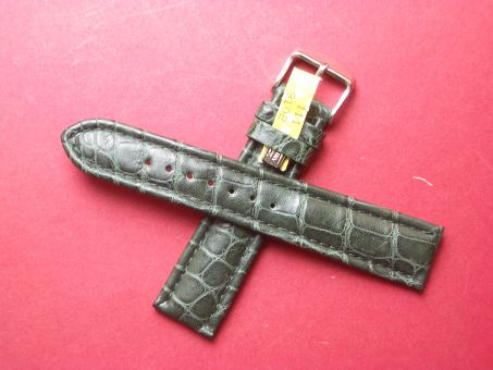 Louisiana Krokodil-Leder-Armband, 20mm im Verlauf auf 18mm Farbe: Grün