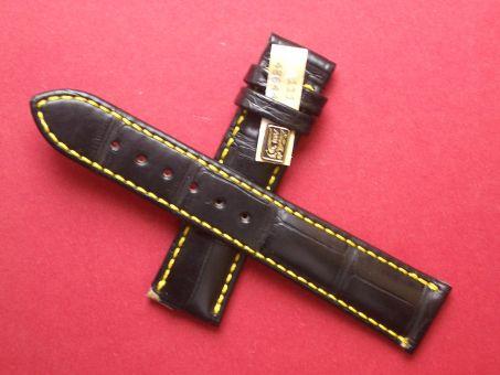 Louisiana Krokodil-Leder-Armband, Signiert: MÜHLE, 20mm im Verlauf auf 18mm Farbe: Schwarz mit gelber Naht