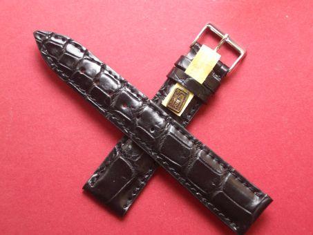 Louisiana Krokodil-Leder-Armband, 20mm im Verlauf auf 18mm Farbe: Schwarz