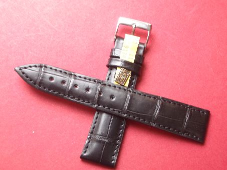 Louisiana Krokodil-Leder-Armband, 20mm im Verlauf auf 18mm Farbe: Schwarz (große Narbung)
