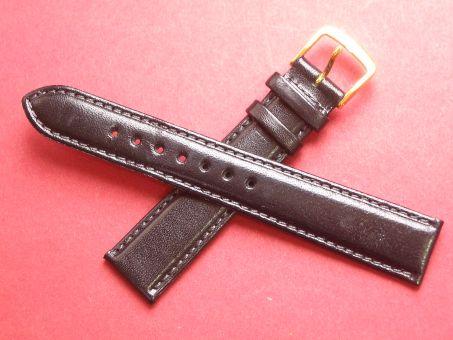 Leder-Armband Graf 18mm im Verlauf auf 16mm,  Farbe: Schwarz