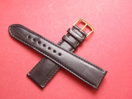 Leder-Armband Graf 22mm im Verlauf auf 18mm,  Farbe: Schwarz
