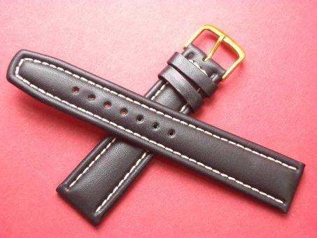Leder-Armband Graf 20mm im Verlauf auf 18mm,  Farbe: Schwarz weiße Naht
