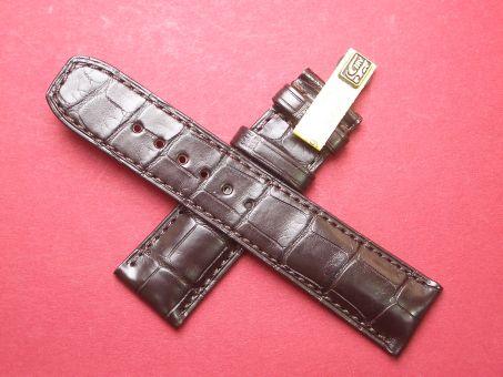 Baume & Mercier Aligator-Leder-Armband 22mm im Verlauf auf 20mm Farbe: Braun