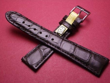Louisiana Krokodil-Leder-Armband, 20mm im Verlauf auf 16mm Farbe: dunkel Braun