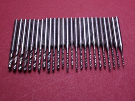 Hartmetallbohrer-Set mit Schaft (0,9 - 2mm)