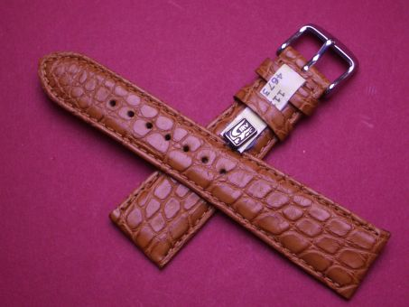 Louisiana Krokodil-Leder-Armband 22mm im Verlauf auf 18mm, Farbe: hell Braun