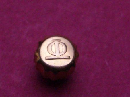 Baume & Mercier Uhren Krone in doublè verschraubt, Ø 4,6mm, Höhe 6,5mm / 2,95mm, Gewinde 0,9mm